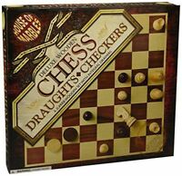 House of Marbles Deluxe Wooden Chess & Draughts Set New Stock UK
