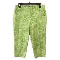 Women's Talbots Green Paisley Curvy Fit Cropped Chino Pants - Size 10P 10 Petite