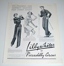 Vintage 1935 Lillywhites of Piccadillly Circus Print Ad — Sports Clothes
