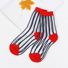 Transparent silk women's striped socks spring and summer new breathable