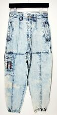 VTG Bugle Boy Jeans Acid Wash Dessert Patrol Mens 28M Tapered Leg Patches Retro