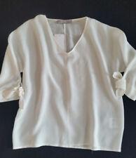 HALLHUBER Mujer Camiseta SEDA armschleife blanco hueso talla 34/UK6 NUEVO
