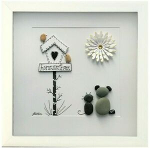 Personalised Pebble Art Picture Framed New Home Gift Home Sweet Home Dog & Cat