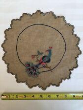 "Vintage Peacock Silk Embroidery on 100% Linen Doily, 10"" Diameter"