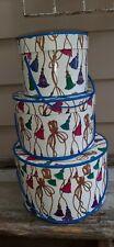 Vintage Nesting Hat Boxes W/ Vibrant Colorful Tassels on White Design set 3