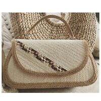 New Handwoven Straw Bag Ivory White Handbag Rectangular Woven Summer Straw Purse