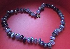 New Natural Earth stone Purple Marbled Beaded NECKLACE