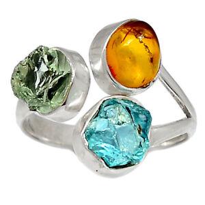 Green Amethyst Rough & Aquamarine Rough 925 Silver Ring s.7.5 BR94963