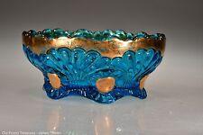 c. 1904 No. 212 Tokyo by Jefferson Glass Blue w/Gold Sauce / Berry Bowl