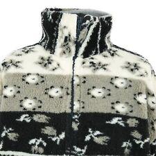 Vintage Sherpa Fleece Coat | Aztec Retro Jacket Zip Duffle Patterned