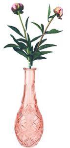Glass Bottle Vase - 30cm Pink Tinted Decorative Cut Glass Flower Vase Ornament