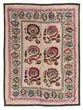 5.3x7 Ft Central Asian Suzani Textile. Embroidered Cotton & Silk Bed Cover