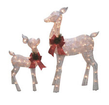 Set of 2 Lighted Silver Glitter Standing Reindeer (as) S17