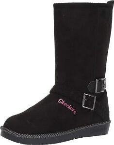 Girls Sketchers Zip Up Memory Foam Warm Winter Mid Calf Biker Boots Shoes Size