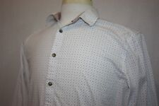 Steel & Jelly White Long Sleeve Slim Fit Geometric Shirt Sz L Contrast Cuffs