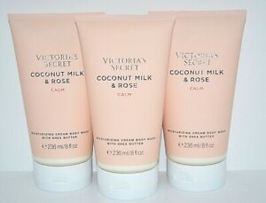3 VICTORIA'S SECRET COCONUT MILK & ROSE CALM MOISTURIZING CREAM BODY WASH 8 OZ