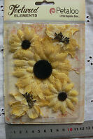 DAISY & WILD SUNFLOWERS TexturedBurlap YELLOW x 5 flowers 50-85mm across Petaloo