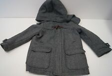 ARMANI JUNIOR Infant Boys Black & Grey Stripe Wool Blend Hooded Jacket Coat 4A