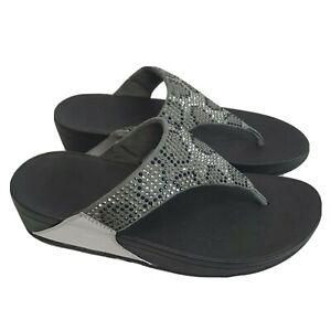 FitFlop Women's LULU Leopard-Crystal Sandal Steel Grey 9 M US  NEW