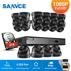 SANNCE 16CH 5IN1 DVR Outdoor Dome 1080p CCTV Camera Surveillance System Kit IP66