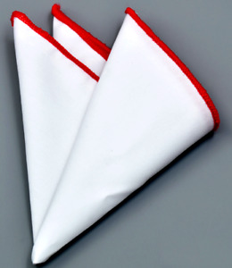 Cotton White Solid Wedding Pocket Square With Red Colored Edges