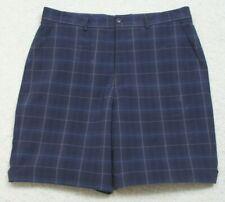"Kirkland Signature Blue Polyester Man Flat Front Dress Shorts Large 36"" X 11"" K7"