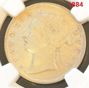 1884 Straits Settlements Victoria 20 Cent Silver Coin NGC VF Details