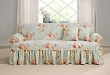Sofa Robins egg blue Sure Fit Ballad Bouquet t-cushion slip cover slipcover