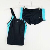 Nike Swimsuit Tankini Womens Size 12 And Bottoms Boyfriend Shorts 2 Pc Set Black