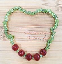 Natural Gem Crystal Peridot Chip Stone N Fire Agate Beads Stretchy Bracelet Sep