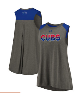 Women's Chicago Cubs Under Armour Heathered Gray/Royal Sleeveless Back Detail