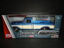 Motormax Ford F150 Custom Pickup 1979 Blue and Cream 1/24 79346