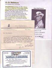 O.O McINTYRE Newspaper Columnist d.1938 Signed (Pencil) Letter COA