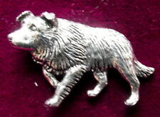 Pewter Collie Sheepdog Brooch Pin  Signed