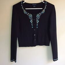 ANN TAYLOR EMBROIDERED BLACK SILK CARDIGAN SWEATER WOMENS SIZE S SMALL