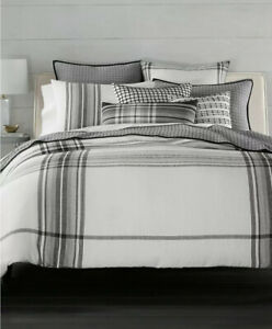 Hotel Collection Linen Plaid F/Queen Duvet Cover+2Stand.Shams+Decorative Pillow
