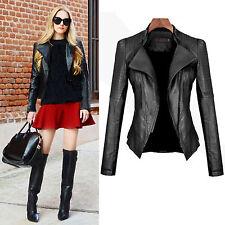 Damen Jacke Kurz Schwarz Mantel Stand Collar Motorcycles Bikerjacke Lederjacke