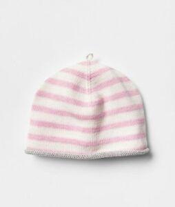 GAP Baby Girls Size 3-6 Months Pink White Nautical Striped Sweater Beanie Hat