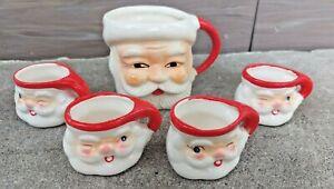 4 vintage winking Santa  mugs 1959 Holt Howard Japan MINT & SMILING SANTA  MUG
