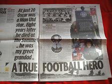 OSCAR LINKSON A MAN UTD TRUE FOOTBALL HERO ~ UK NEWSPAPER ARTICLE ~ NOV 2010