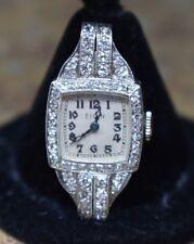 Platinum Elgin Art Deco Diamond Watch 900 Platinum Vintage Ladies Manual Wind