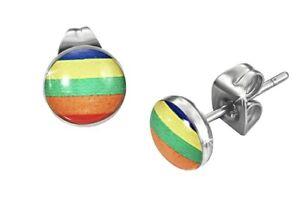 7mm Gay Pride LGBT Rainbow Stainless Steel Stud Earrings Unisex FREE P&P