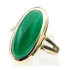 Art Deco Era 14 Karat Yellow Gold Natural 7.00 Carat Oval Apple Green Jade Ring