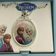 "Music Box plays ""Let It Go"" Silvertone Disney Frozen Necklace 16"" with Anna Elsa"