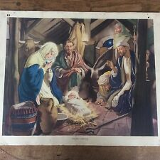 c1950 Vintage Enid Blyton Bible Picture Poster The First Christmas