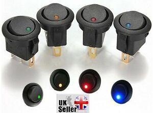4 x multi 12v LED Dot Illuminated Light Car Dash Round Rocker ON-OFF SPST Switch