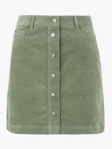 Marks & Spencer M&S Collection Green Cord Corduroy Skirt Button Down  UK Size 22