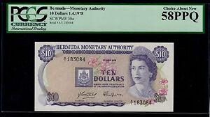 BERMUDA  10 DOLLARS  1978    PICK # 30a PCGS 58 CHOICE ABOUT NEW PPQ.