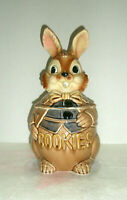 Vintage EASTER BUNNY Cookie Jar Wears Bow and Vest Made in Japan