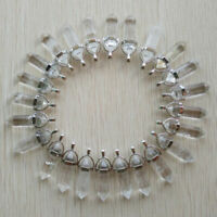 24pcs/lot Wholesale Natural crystal quartz stone Point Chakra Healing Pendants
